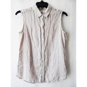 Uniqlo Linen Sleeveless Summer Button Down Shirt